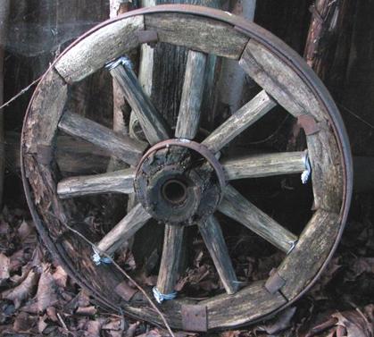 Деревянное колесо с железными протекторами.  Краткая история колеса.